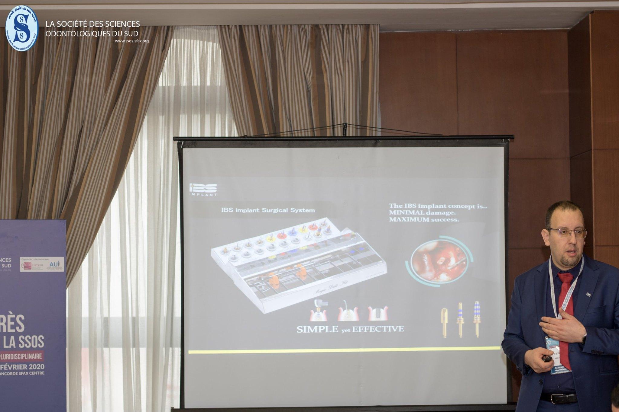 Dr touri présente son atelier sur la planification implantaire au 7ème congrès de la SSOS en Tunisie